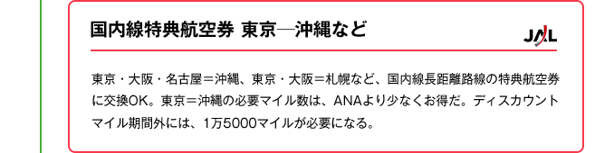 国内線特典航空券東京─沖縄など|東京・大阪・名古屋=沖縄、東京・大阪=札幌など、国内線長距離路線の特典航空券に交換OK。東京=沖縄の必要マイル数は、ANAより少なくお得だ。ディスカウントマイル期間外には、1万5000マイルが必要になる。