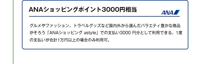 ANAショッピングポイント3000円相当|グルメやファッション、トラベルグッズなど国内外から選んだバラエティ豊かな商品がそろう「ANAショッピング astyle」での支払い3000 円分として利用できる。1度の支払いが合計1万円以上の場合のみ利用可。