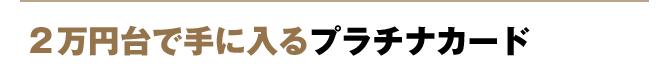 2万円台で手に入るプラチナカード
